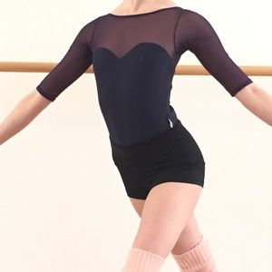 Ballet Beautiful Dark Purple leotard mesh sleeves